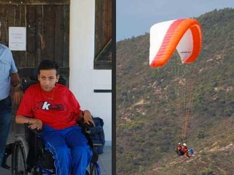 На параплане в инвалидной коляске
