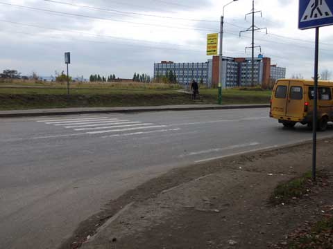 """Пешеходный переход у остановки """"ул.Воронова"""" - частичная доступность"""